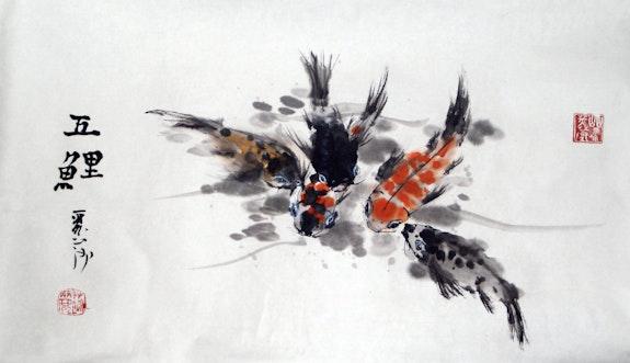 Cinco Koi.  Lisa Chakrabarti, Fine Artist