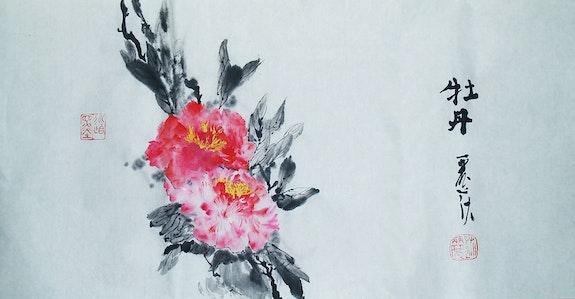 Mudan - Las peonías Árbol.  Lisa Chakrabarti, Fine Artist