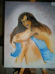 Der Sulky. Sie ist nicht mit ihrer Nacktheit freuen.