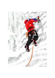 Ice Climbing on a Frozen Waterfall.. Phill Evans Illustration