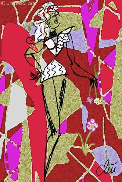 Fashionwave 1 - limited original graphic - Jacqueline_Ditt. Jacqueline Ditt Universal Arts Galerie Studio Gmbh