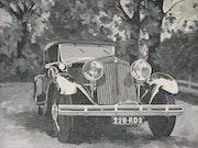En ruta - noir de los automóviles y blanc 1900 -.