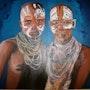 Mère et fille d'afrique. Ledroit