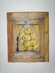 The bag of apples on closet door.