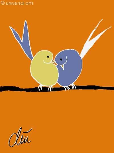 Pair of Birds - limited original graphic - Jacqueline_Ditt. Jacqueline Ditt Universal Arts Galerie Studio Gmbh