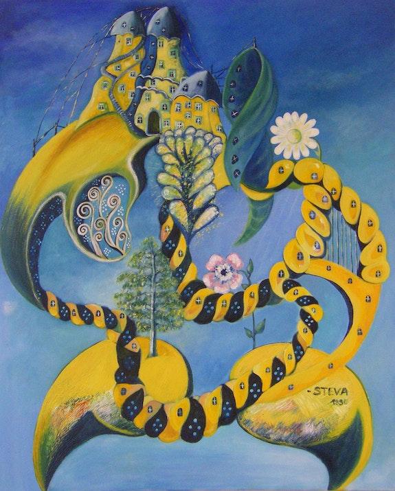«The Genesis of Spring», oil on canvas, 1991 signed by the artist Steve. Steva Steva