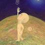 Vision Extra-Terrestrial », oil on toile1995 signed by the artist Steve. Steva