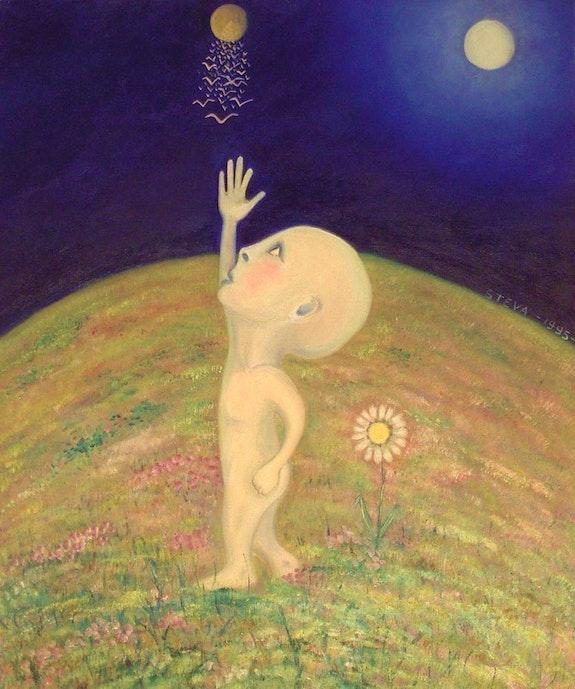 Vision Extra-Terrestrial », oil on toile1995 signed by the artist Steve. Steva Steva