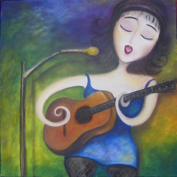 Guitarist, acrylic on canvas 2010 signed Steve. Steva Steva