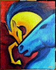Horse blaue und gelbe Pferd.