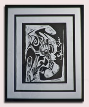 Paperwork 2. Woodcut print on Paper. Framed and ready to hang. Victor Mavedzenge