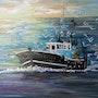 Zurück vom Fischfang in den Sonnenuntergang. Fransua