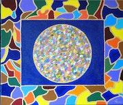 Las fibras acrílicas sobre lienzo mosaico .
