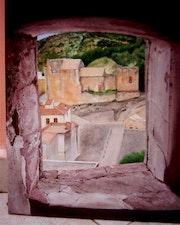 Ermita de San Roque from window in Tower Jérica .