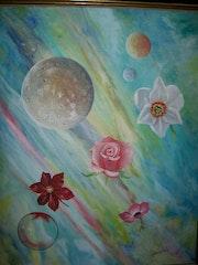 planetas vuelo flores y burbujas .