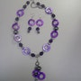 Shockin'purple, necklace in purple tones with charms and matching earrings . Regina Korell