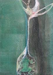 """Dans la série: """"Magnolia et la grenouille chanson,"""" acrylique, techniques mixtes, 2010, résumé . Susanne Opheys"""