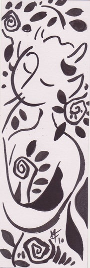Wildlife Flöte Zeichnung in Tusche auf Papier . Caroline Meynier