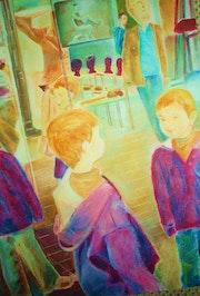Quadruple reflection of a boy in a shop .