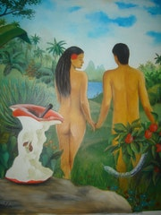 Adam and Eve leaving paradise .