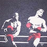 Rocky vs drago acrylic painting on primed canvas. With black Reliefeffeckt .