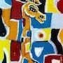 La girafe Mondrian - peinture originale - Jacqueline_Ditt. Universal Arts Galerie Studio Gmbh