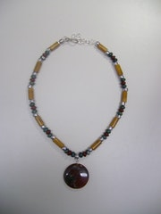 Autumn in Vermont, autumn necklace with genuine semi-precious stones .