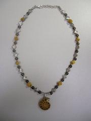 Ammonita-Mookait necklace, smoky quartz and ammonite .