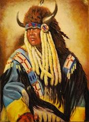Búfalo de la pradera, jefe indio, farwest americano, luchadores de la frontera.