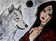 Tristana y su lobo .