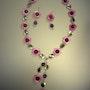 Pink surprise-Set-Halskette und Ohrhänger mit Perlmutt und Amethyst. Regina Korell