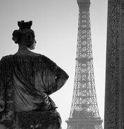 Place de la Concorde, Paris. Obelisk and Eiffel Tower.. Denis Reverseau