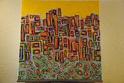 Acrylyque arte abstracto en lona.