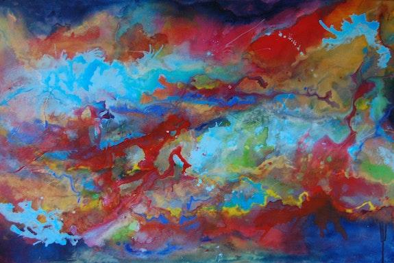 Peintures, Contemplation II - Grand Art contemporain Peinture abstraite  moderne Bleu / Rouge , Page 9290, Oeuvres d'Artistes