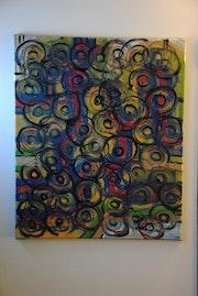 Óleo y acrílico sobre lienzo abstracto nacido. G .