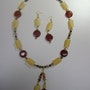 Sunny october set of necklace and earring with agate and Orangencalcitröhrchen. Regina Korell