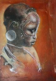 Portrait d'Afrique d'une jeune fille peul.