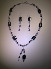 Party Time Set necklace and earrings with obsidian, lepidolite and ... .