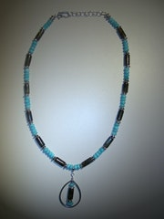 Mermaid-labradorite and amazonite necklace with charm .