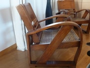 4 Armchairs wood and wickerwork art deco . Max Gilles