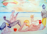 "Picture 478: ""On the beach, the beautiful beach of life"" . Hans-Joachim Salchow"