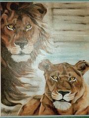 Le lion et la lionne.