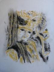 Personnage masqué du carnaval de venise dessin aux pastels secs. Jean-Michel Vallet