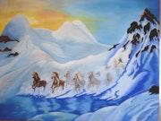 Galop de chevaux -pastel sec-d'apres Dali.
