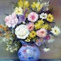 Flowers and peonies in blue pot . Yvette Mandin