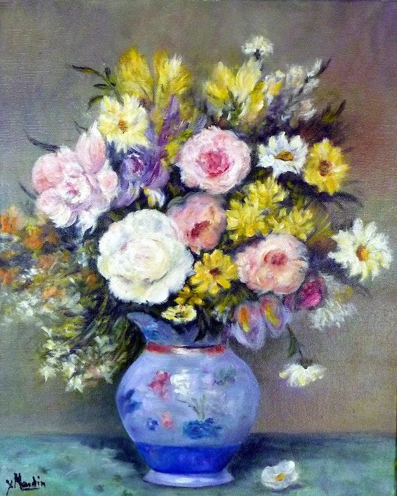 Fleurs et pivoines au pot bleu.  Yvette Mandin