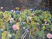 Water lilies in the shadows and light . Françoise-Elisabeth Lallemand