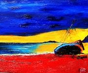 Barco no y puesta del sol .