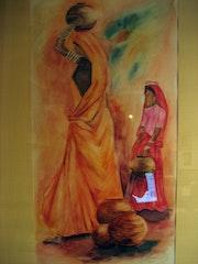Women with jugs (Watercolor) 2005 .