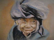 Portrait old woman with blue turban (pastel) 2009 .